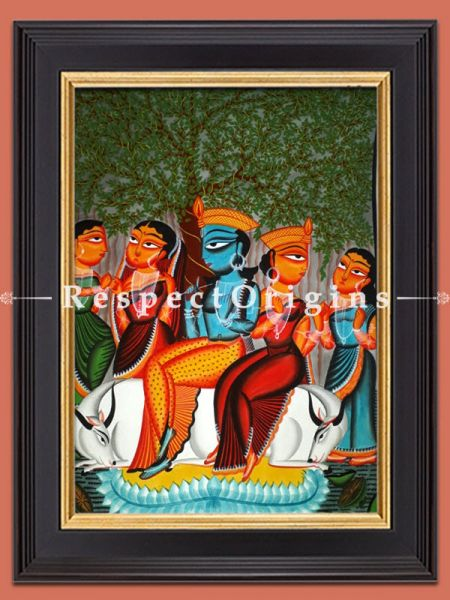 Krishna With Friends; Kalighat Painting; Vertical Folk Art of Bengal; 30x23