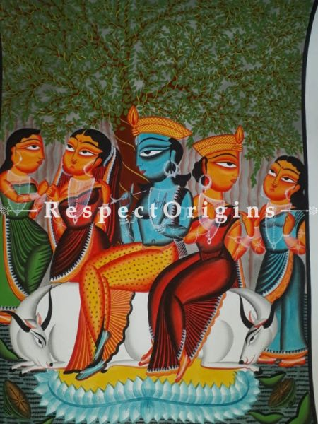 Buy Kalighat Painting of Krishna With Friends In 30x23 Size |RespectOrigins