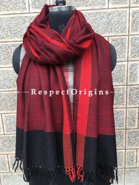Red Pure wool Unisex Himalayan Kullu Scarf for Men and Women; RespectOrigins.com