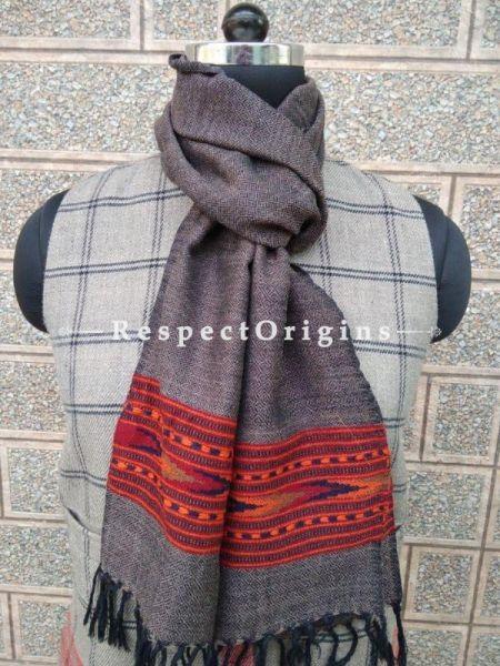 Purple Pure wool Unisex Himalayan Kullu Scarf for Men and Women; RespectOrigins.com
