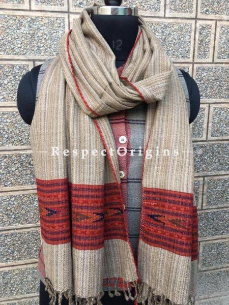 Brown Pure wool Unisex Himalayan Kullu Scarf for Men and Women; RespectOrigins.com