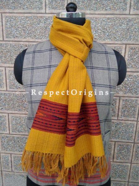 Yellow Pure wool Unisex Himalayan Kullu Scarf for Men and Women; RespectOrigins.com