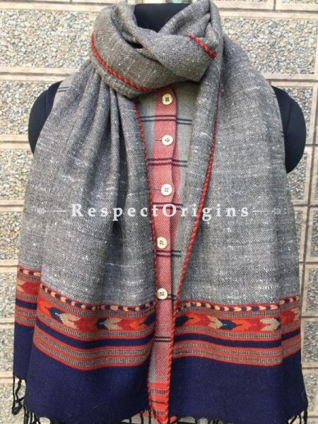 Grey with Blue Base Pure wool Unisex Himalayan Kullu Scarf for Men and Women; RespectOrigins.com