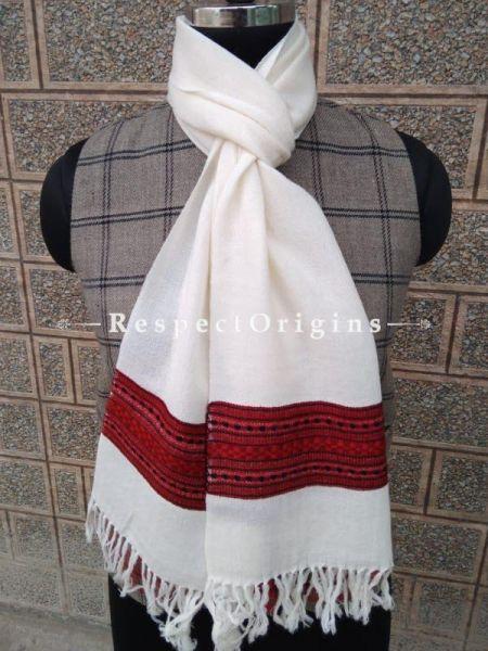 White Pure wool Unisex Himalayan Kullu Scarf for Men and Women; RespectOrigins.com