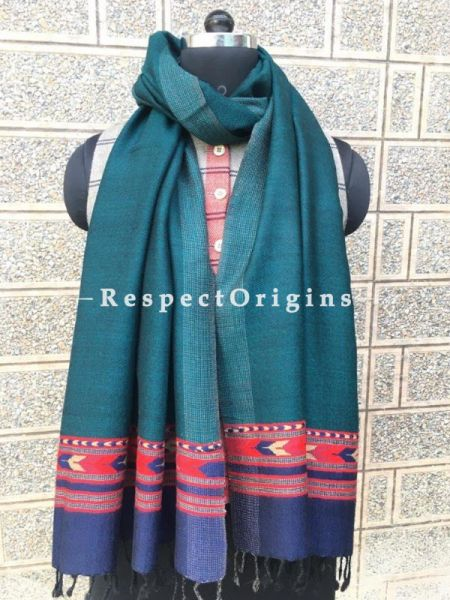 Green with Blue Base Pure wool Unisex Himalayan Kullu Scarf for Men and Women; RespectOrigins.com