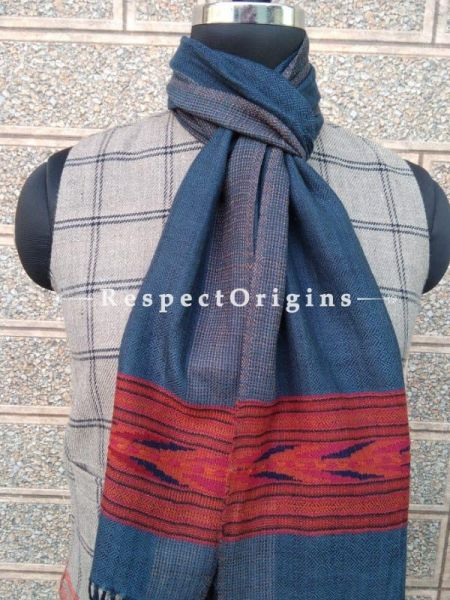 Blue Pure wool Unisex Himalayan Kullu Scarf for Men and Women; RespectOrigins.com