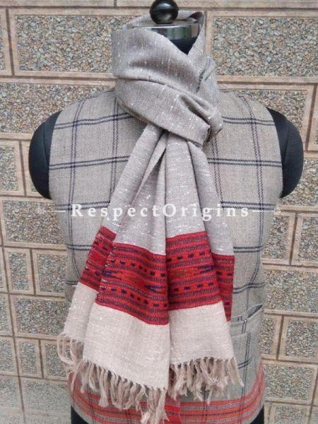 Grey Pure wool Unisex Himalayan Kullu Scarf for Men and Women; RespectOrigins.com