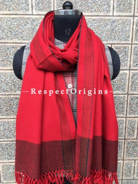 Pink Pure wool Unisex Himalayan Kullu Scarf for Men and Women; RespectOrigins.com