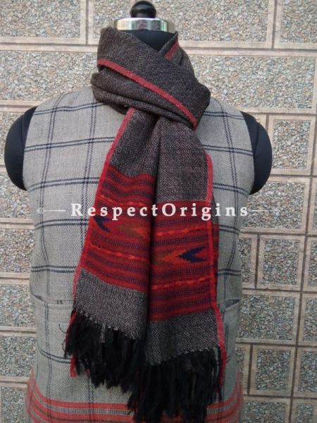 Black Pure wool Unisex Himalayan Kullu Scarf for Men and Women; RespectOrigins.com