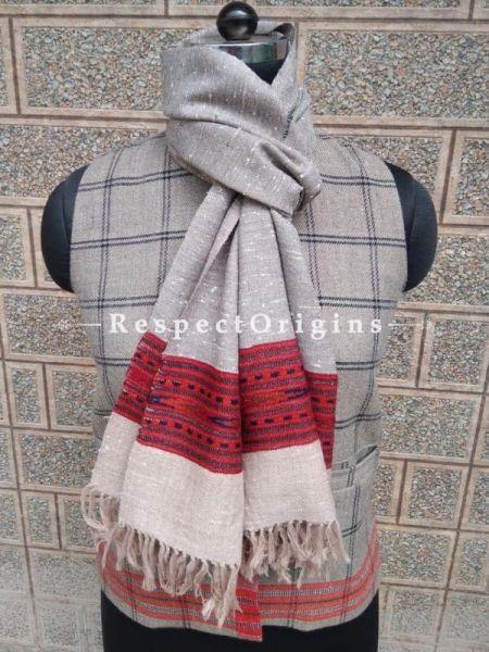 Beige Pure wool Unisex Himalayan Kullu Scarf for Men and Women; RespectOrigins.com