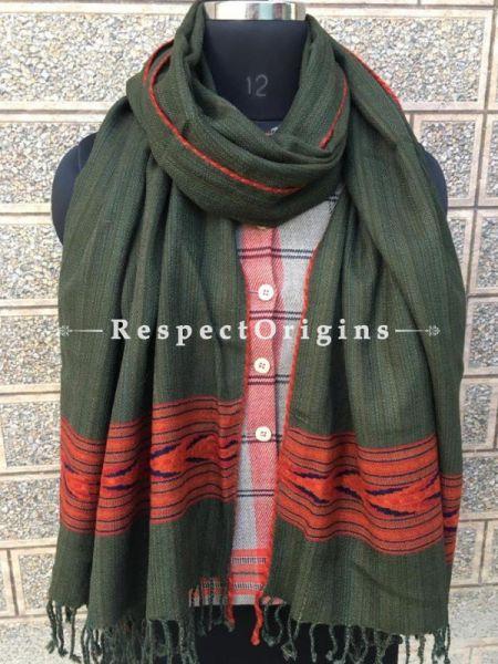 Green Pure wool Unisex Himalayan Kullu Scarf for Men and Women; RespectOrigins.com