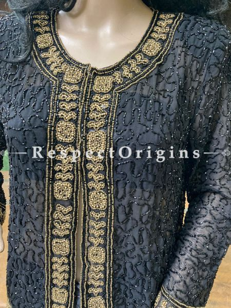 Marvellous Navy Blue Georgette Formal Kurti Dress Top with Beadwork ; RespectOrigins.com