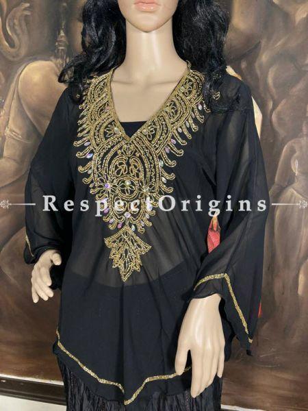 Elegant Georgette Formal Dress Kaftan Kurti Top with Beadwork in Blue; RespectOrigins.com