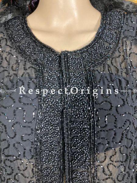 Dazzling Black Georgette Formal Dress Kurti Top with Beadwork; RespectOrigins.com