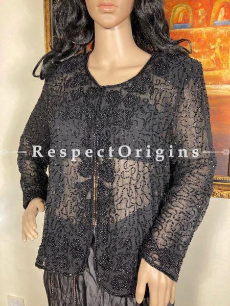 Marvellous Georgette Formal Black Dress Kurti Top with Beadwork; RespectOrigins.com