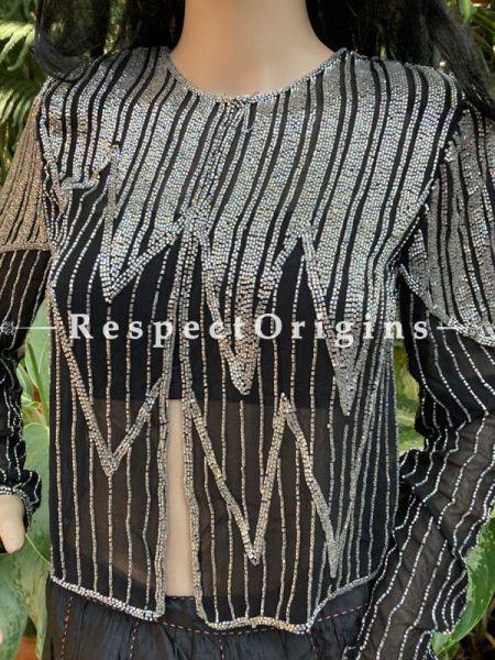 Magnificent Black Georgette Formal Dress Kurti Top with Beadwork;  XL; RespectOrigins.com