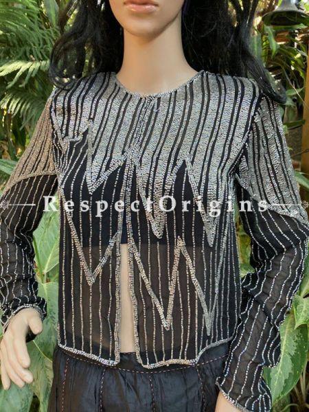 Magnificent Black Georgette Formal Dress Kurti Top with Beadwork; Medium; RespectOrigins.com