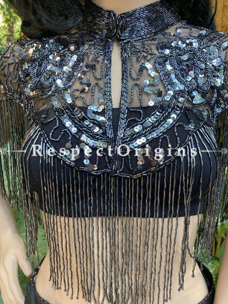 Stunning Black Georgette Formal Dress Kurti Top with Black Beadwork; RespectOrigins.com