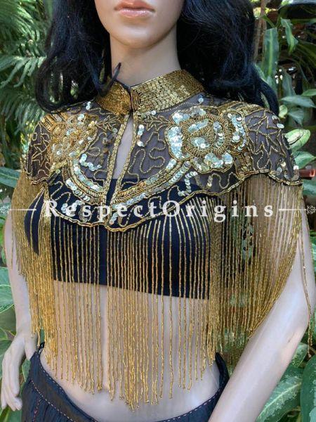 Stunning Black Georgette Formal Dress Kurti Top with Golden Beadwork; RespectOrigins.com