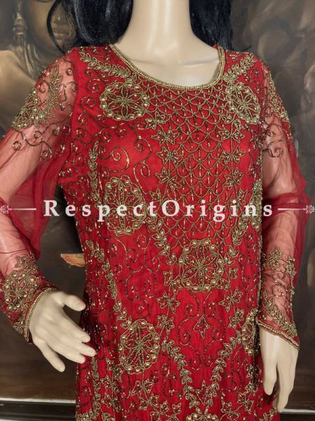 Dazzling Georgette Formal Red Evening Gown Kurti Top with Beadwork; RespectOrigins.com