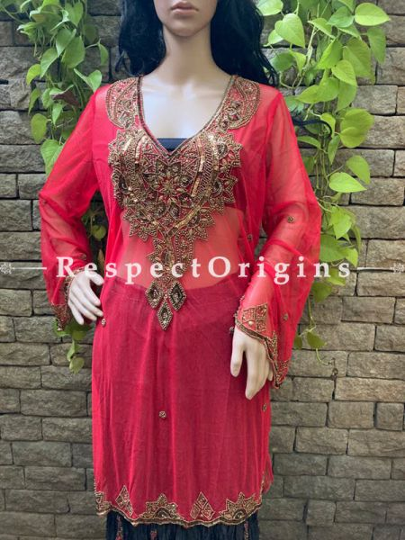 Party Red Georgette Formal Kurti Dress Top with Beadwork ; RespectOrigins.com