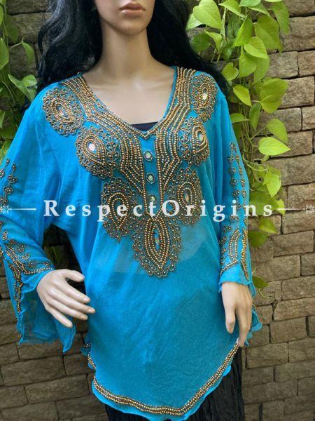 Gorgeous Sky Blue Georgette Formal Kurti Dress Top with Beadwork ; RespectOrigins.com