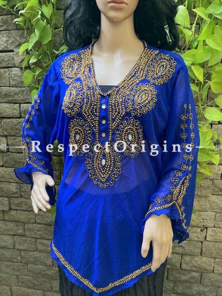 Scintillating Royal Blue Georgette  Formal Kurti Dress Top with Beadwork ; RespectOrigins.com