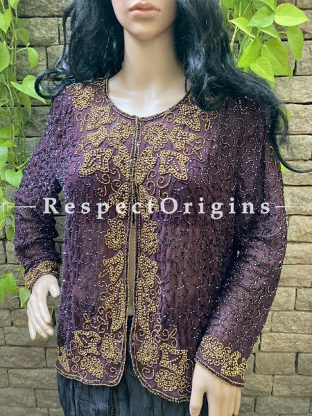Marvellous Purple Georgette Formal Kurti Dress Top with Beadwork ; RespectOrigins.com