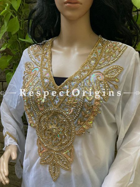 Classy White Georgette Formal Kurti Dress Top with Beadwork ; RespectOrigins.com