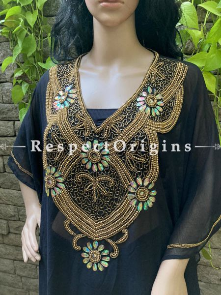 Free-size Classy Georgette Formal Kurti Kaftan Top Dress with Beadwork in Black; RespectOrigins.com