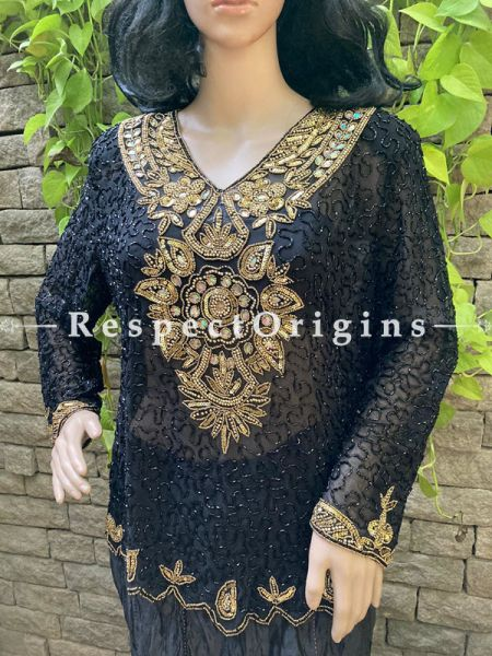 Marvellous Black Georgette Formal Kurti Dress Top with Beadwork ; RespectOrigins.com