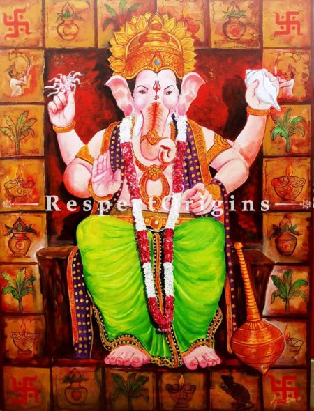 Vertical Art Painting of Laalbagcha raja Ganesha;Acrylic on Canvas; 36in X 48in at RespectOrigins.com