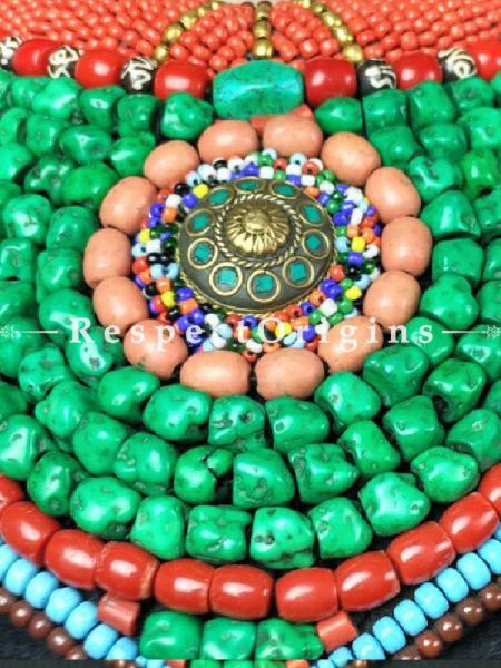Fabulous Multicolored Beads; Ladhaki Bead-work Necklace; Red, Blue and Green Beaded Chocker; RespectOrigins.com