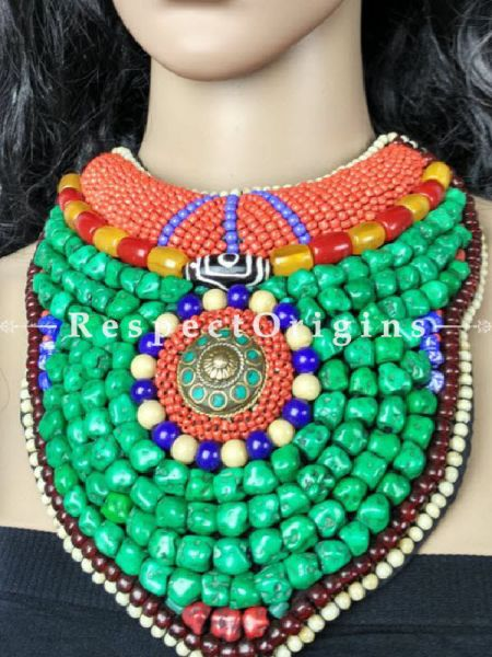 Beautiful Multicolored Beads; Ladakhi Bead-work Necklace; Red, Blue, Beige and Green Beaded Chocker; RespectOrigins.com