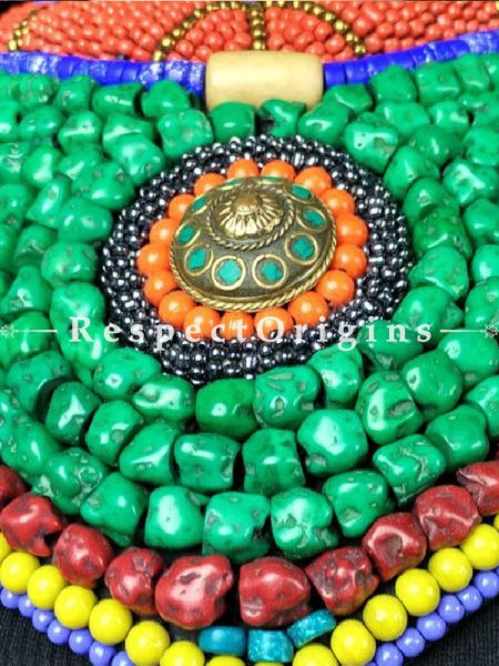 Gorgeous Multicolored Beads; Ladakhi Bead-work Necklace; Red, Blue, Yellow and Green Beaded Chocker; RespectOrigins.com