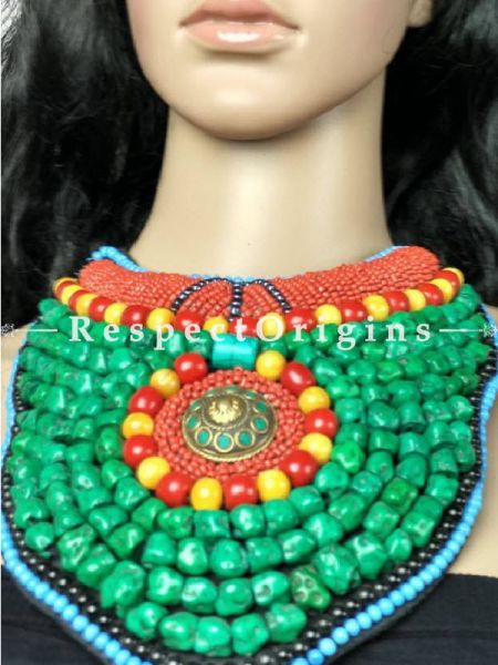 Stunning Multicolored Beads; Ladakhi Bead-work Necklace; Black, Red, Blue, Yellow and Green Beaded Chocker; RespectOrigins.com