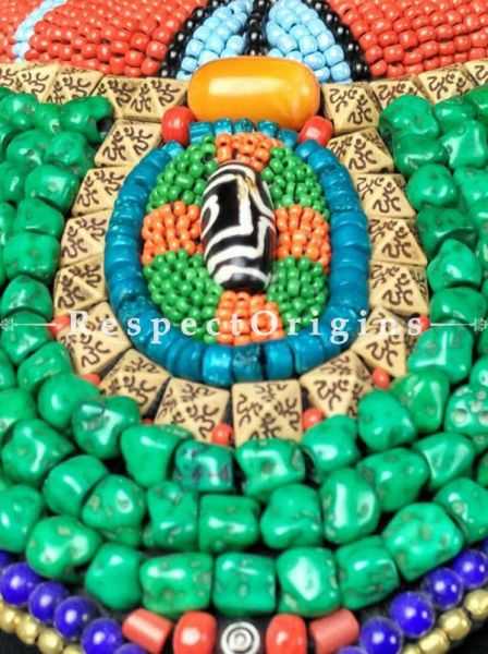 Beautiful Multicolored Beads; Ladakhi Bead-work Necklace; Gold, Red, Blue and Green Beaded Chocker; RespectOrigins.com