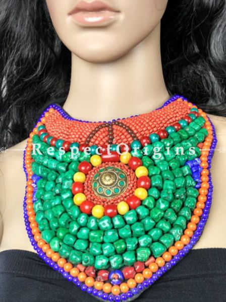 Fanciful Multicolored Beads; Ladakhi Bead-work Necklace; orange, Red, Blue and Green Beaded Chocker; RespectOrigins.com