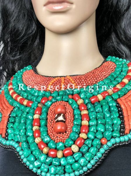 Stylish Multicolored Beads; Ladakhi Bead-work Necklace; Red, Black and Green Beaded Chocker; RespectOrigins.com