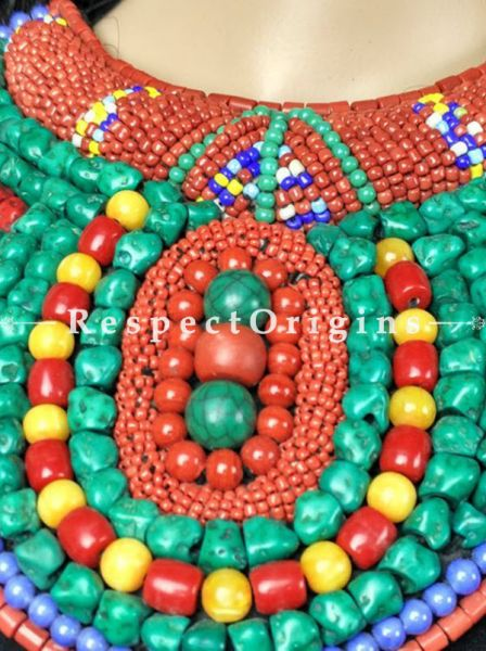 Fancy Multicolored Beads; Ladakhi Bead-work Necklace; Red, Yellow, Blue and Green Beaded Chocker; RespectOrigins.com