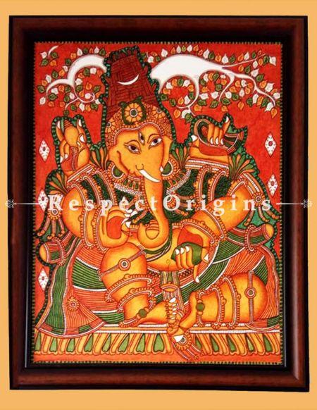 Lambodara; Ganesha; Kerala Wall Mural Art; 24x18 in Canvas Vertical painting