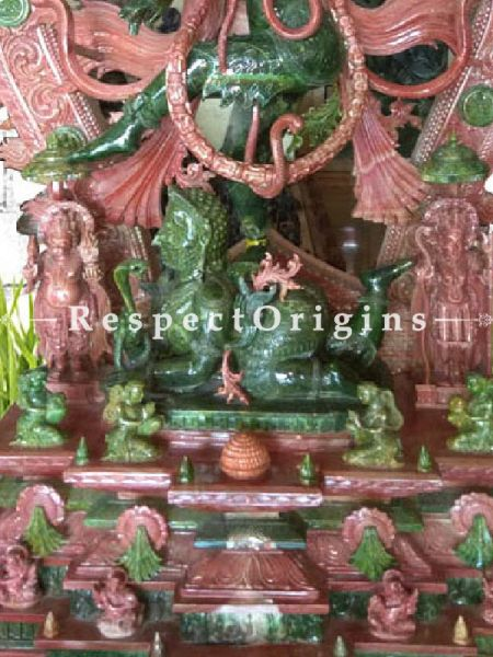 Buy Large Hand Carved Natraja Statue in Pink and Green Stone; RespectOrigins