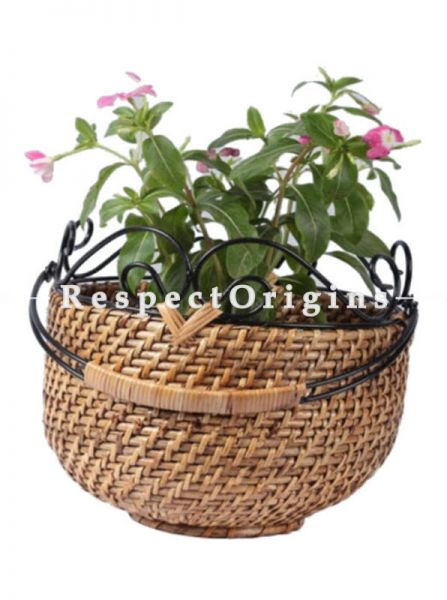 Buy Large Hand Braided Round Rattan Cane Planter; RespectOrigins.com