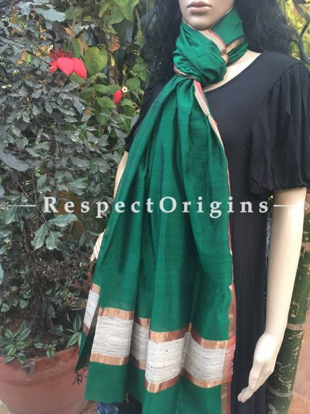Handloom Leaf Green Maheshwari Cotton silk stole with golden Jute work and red border in 50x35 inches; RespectOrigins.com