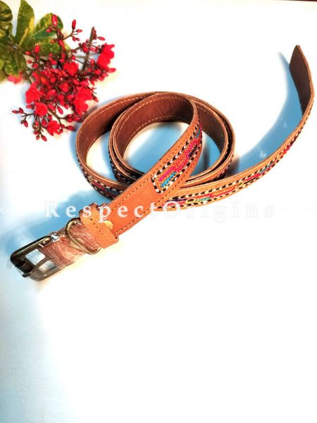 Handmade Assorted Brown Kutch Hand Embroidery Pure Leather Belt ; RespectOrigins.com