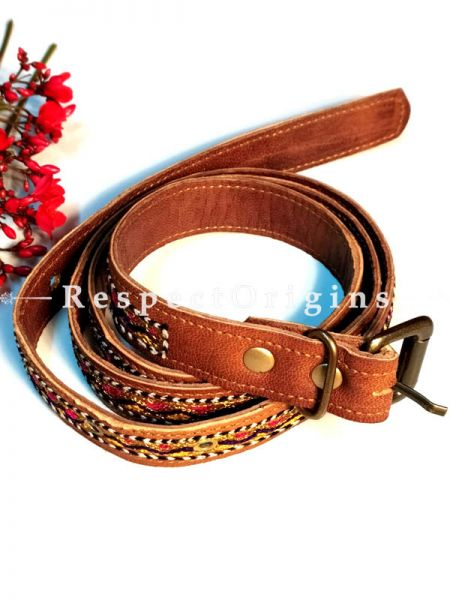 Vibrant Assorted Brown Kutch Hand Embroidery Pure Leather Belt ; RespectOrigins.com