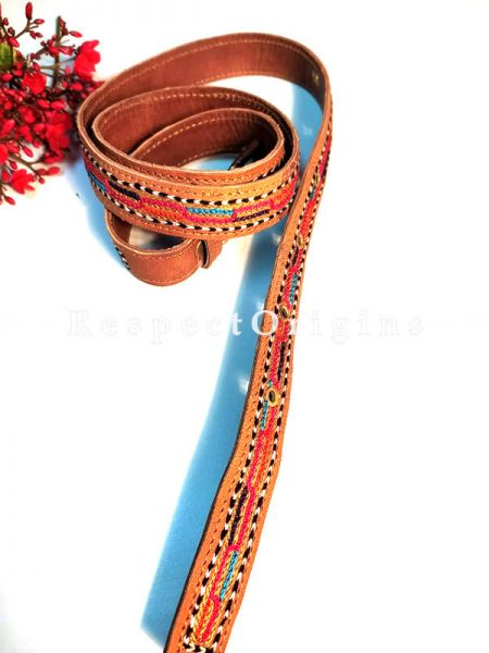 Beautiful Assorted Brown Kutch Hand Embroidery Pure Leather Belt ; RespectOrigins.com