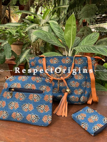 "Trendy Blue Hand Block Printed leatherette Ladies Bag Straps 30"" and Clutch 9 X 8 "" Inches, Coin Pouch  5 X 4"" Inches; RespectOrigins.com"