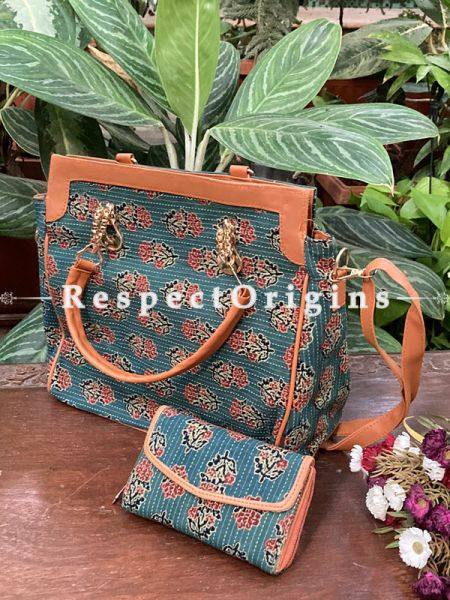 "Green Trendy Hand Block printed leatherette ladies Hand Bag with Handle 12 X 12""  and Clutch; 6 X 4""; RespectOrigins.com"