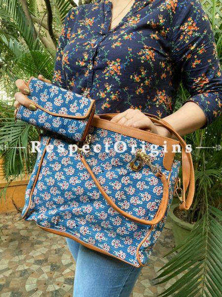 "Vibrant Blue Hand block printed leatherette Ladies Bag with Handle 12 X 12""  and Clutch; 6 X 4""; RespectOrigins.com"